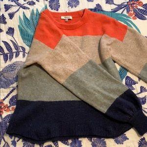 Madewell gladwell balloon sleeve striped sweater